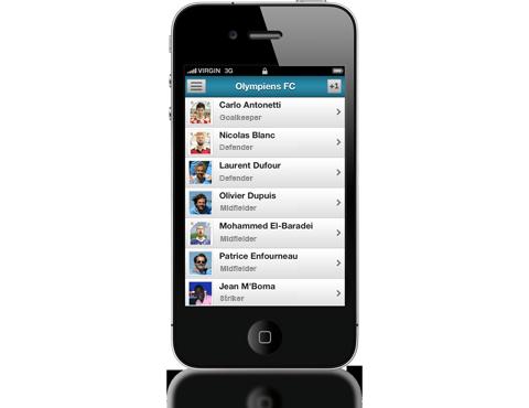 Applicazione mobile (iPhone, Android) per la gestione della tua squadra.