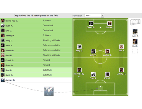 Choose your formation and set your team lineup online