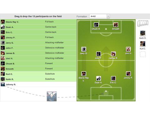 Pasirinkite savo komandos išsidėstymą ir nustatykite komandos sudėtį interaktyviai