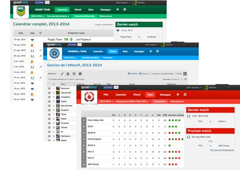 Calendrier des matchs & entraînements, tableau de gestion de l'effectif, classements, stats, etc. : SportEasy est l'outil idéal pour un coach